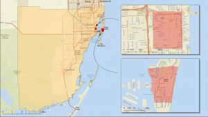 Map of areas in Miami-Dade County where the Zika virus is being spread by mosquitoes.